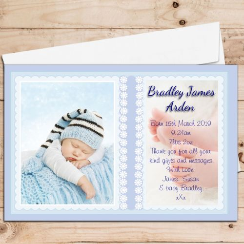 10 Personalised Baby Boy Birth Announcement Thank You PHOTO Cards N77